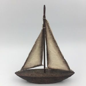 Mid-Century Resin Sailboat Decor